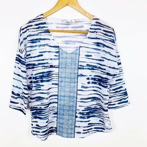 NWOT PrAna Aleah Blue and White Lightweight Top S